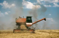 Old retro combine harvesters at work. Vintage retro old combine harvester at work gathering wheat, autumn harvest, sunny day royalty free stock image
