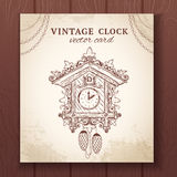 Old retro cuckoo clock card Stock Photo