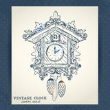 Old retro cuckoo clock postcard Royalty Free Stock Image