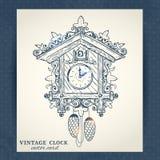 Old retro cuckoo clock postcard Royalty Free Stock Image