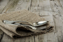 Old Retro cutlery set on vintage wooden background Royalty Free Stock Photography