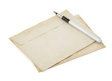 Old retro envelope on white Stock Photos