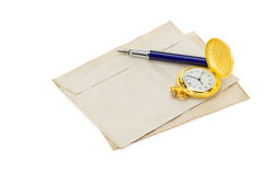 Old retro envelope on white Royalty Free Stock Images