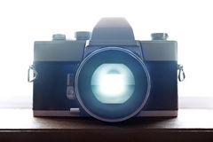 Old Retro Film Camera Closeup with backlight. Through the Viewfinder Stock Photography