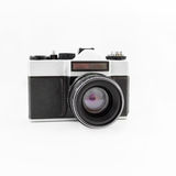 Old retro film camera. Flat lay, Top view. Old retro film camera. Flat lay Royalty Free Stock Photo