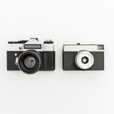 Old retro film cameras. Flat lay, Top view. Old retro film camera. Flat lay Stock Photo