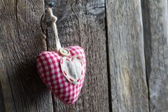 Old retro handmade heart on wooden boards love valentines concept Royalty Free Stock Photos