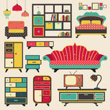 Old retro house appliance furniture and interior decoration flat Stock Photography