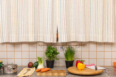 Old retro kitchen with vegetables and fruits Royalty Free Stock Photo