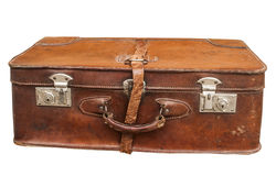 Old retro leather suitcase stock photos