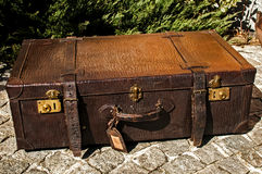 Old retro leather suitcase Stock Images
