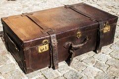 Old retro leather suitcase Stock Photo
