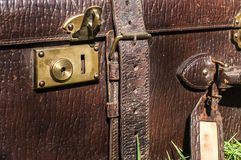 Old retro leather suitcase closeup Royalty Free Stock Image