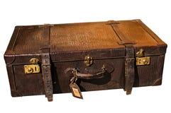 Old retro leather suitcase on white Royalty Free Stock Image