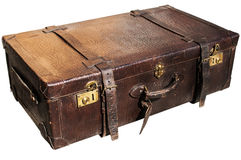 Old retro leather suitcase on white Stock Images