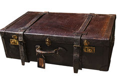 Old retro leather suitcase on white Stock Image