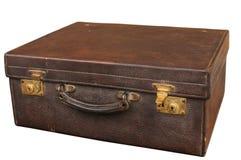Old retro leather suitcase on white Royalty Free Stock Photos