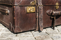 Old retro leather suitcases detail closeup. Old closed locked retro vintage leather suitcase detail closeup Stock Images