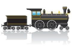 Old retro locomotive vector illustration Stock Photography