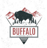 Old retro logo with bull buffalo. On mountains background.Vector vintage label vector illustration
