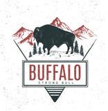 Old retro logo with bull buffalo Royalty Free Stock Photography