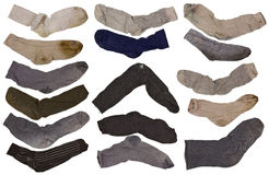 Old  retro men's socks isolated  set Royalty Free Stock Photos