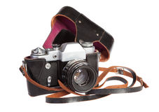 Old retro 35mm film camera in case Royalty Free Stock Image