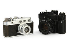 Old retro 35mm film cameras. Isolated on white background Royalty Free Stock Image