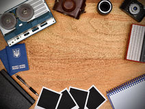 Old retro object on wooden table Royalty Free Stock Image