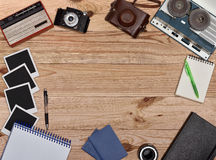 Old retro object on wooden table Royalty Free Stock Photography