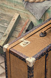 Old retro objects antique of luggage valise suitcases, wooden boxes Stock Photos