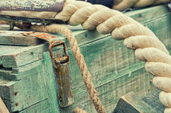 Old retro objects antique textural background wooden crates and ropes Royalty Free Stock Images
