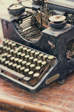 Old retro objects antique typewriter on the table Stock Photo
