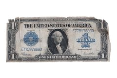 Old retro one dollar isolated on white background Stock Photo