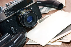 Old retro photo camera Stock Images