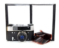 Old retro photo camera and blank photo Stock Images