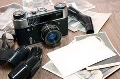 Old retro photo camera and film Royalty Free Stock Photos