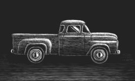 Old retro pickup truck vector hand drawn skecth. Vintage transport vehicle. Chalk style. Farming workhorse royalty free illustration