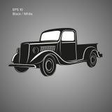 Old retro pickup truck vector illustration icon. Vintage transport vehicle. Old retro pickup truck vector illustration Royalty Free Stock Photos