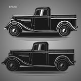 Old retro pickup truck vector illustration. Vintage transport vehicle Royalty Free Stock Photo