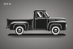 Old retro pickup truck vector illustration. Vintage transport vehicle Stock Photo
