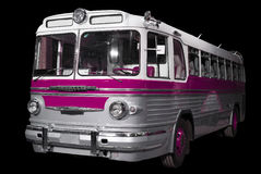 Old retro pink bus. Royalty Free Stock Images