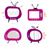 Old retro pink TV collection. Retro television set. Vector cartoon illustration Stock Photo