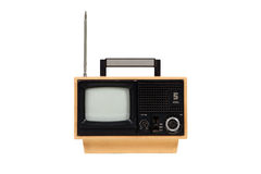 Old retro portable yellow television. On white background Stock Photos
