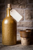 Old retro pottery with a empty note Royalty Free Stock Photos