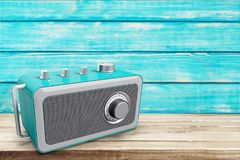 Old retro radio on wooden table. Old retro radio background photography day single Stock Images