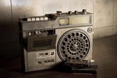 Old retro radio with cassette. Stock Photos
