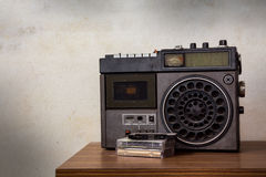 Old retro radio with cassette. Royalty Free Stock Images