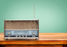 Old retro radio on table Stock Image