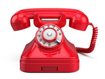 Old retro red phone Stock Photos